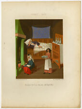Antique Print-MINIATURE-MANUSCRIPT-KITCHEN-ASLEEP-Racinet-Sere-1858