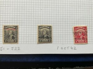 1942 3 x SARAWAK Stamps Forgeries Japanese Occupation with Certificates 3c to 8c