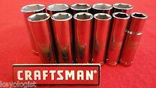 """CRAFTSMAN Socket Set 1/2"""" drive SAE 6pt DEEP 11pcs LASER ETCHED"""