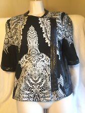 Gorgeous Helmut Lang Lamb Leather & Cotton  Black/White Jacket Size L