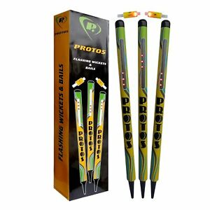 Protos Stump Set Flashing Wickets And Bails+ Free Shipping+ AU Stock