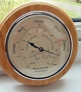 "MODERN WOODEN BAROMETER ~ ""BLAME IT ON THE WEATHERMAN"" ~8"" diameter"