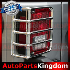 Chrome Stainless Euro Taillight Lamp Guard Cover Fit 07-17 Jeep JK Wrangler
