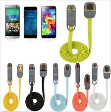 Wohnung 2in1 Micro-USB-Daten-Kabel-Ladegerät für Samsung iPhone 6s Plus Blau