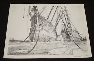 """Artist John A Noble Small Black&White 1970 Print """"ANCIENT FOREFOOT W/WORMDIGGER"""""""