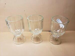 Egg Cups, Glass. Argus Thumbprint 1850-1880. Set of 3.