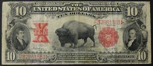 1901 $10 FR-122 BISON NOTE - ORIGINAL VF CIRCULATED - Speelman/White