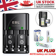 More details for multi slot mains battery charger for aa aaa & 9v sizes rechargeable batteries uk