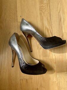 Jimmy Choo Black Silver Leather Peep Toe UK 4 Shoes EUR 37