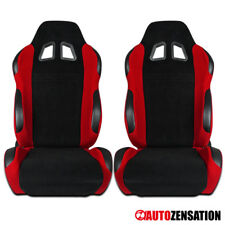 For [2pcs] Left+Right Reclinable Sport Racing Seats Black/Red Cloth W/ Slider