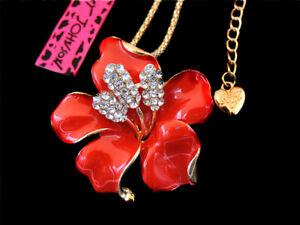 Betsey Johnson Red Crystal Enamel Bauhinia Flower Pendant Choker Chain Necklace