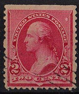 US 1890 Scott #220 George Washington first President 2 Cents Carmine STAMP