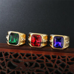 Mens Large Lab Emerald Sapphire Ruby Stainless Steel Vintage CZ Engagemet Ring