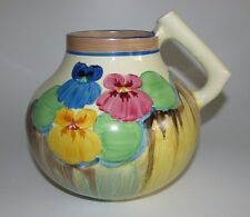 Clarice Cliff Art Deco 'Delicia Pansies' Handled Jug Shape 634. c1933