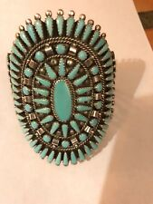 Native American Old Pawn Navajo Turquoise Cluster Cuff Bracelet