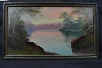 Raze Oil Painting Art Water Lake Scene Landscape On Board Trees American School