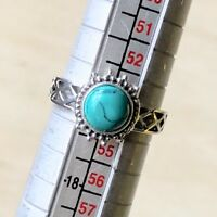 STUNNING CAB TURQUOISE GEMSTONE & 925 STERLING SILVER RING UK SIZE N.5 / N 1/2