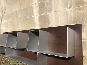 Wall mounted designer bookshelf, dark timber and metal, good condition