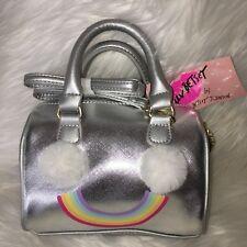 Betsey Johnson bag Rainbow mini barrel crossbody silver pom happy face