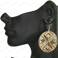 MIRRORED PATTERN DISC cutout GOLD FASHION ROUND EARRINGS shiny gold plated
