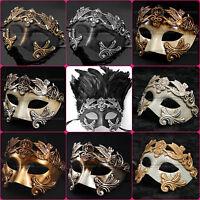 Venetian Roman Warrior Masquerade Party Face Mask for Men - Black Silver Gold