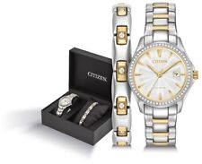 Citizen Womens Eco-Drive Gift Set Crystal Stainless Steel Watch FE1144-69A