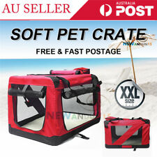 XXL Large Portable Soft Pet Dog Crate Cage Kennel Travel Folding Carrier Red New