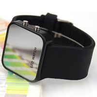 LED Armbanduhr Damenuhr Herrenuhr Uhren Watch Unisex Silikon Schwarz  PAL