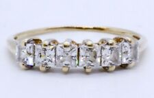 10K Solid Yellow Gold Princess Cubic Zirconia CZ 6-Stone Anniversary Ring Band 8