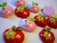 20 Red & Pink Apple/Green Leaves Resin Flatback Button/Rhinestone/Bead/Bow B112