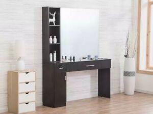 Salon Station Makeup Wall Mount Hair Styling BeautySpa Equipment W/Mirror 3046