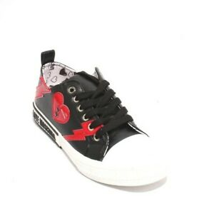 Love Moschino 15392 Black White Leather Logo Lace Platform Sneakers 38 / US 8