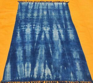 Contemporary Flat-Weave 100% Cottol 4x6 Kilim Dhurrie Block Print Blue Area Rug