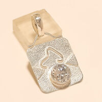 Natural Russian White Topaz Solitaire Shield Pendant 925 Sterling Silver Jewelry