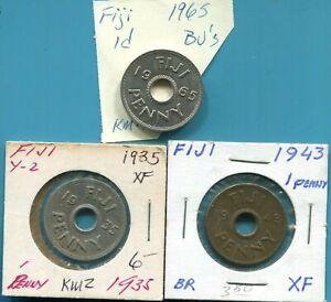 FIJI - THREE BEAUTIFUL HISTORICAL PENNIES: 1935, BRASS 1943 S, & 1965