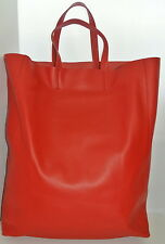 CELINE Leather Cabas Vertical Tote in Red,NEW