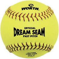 "Rawlings, 2 Pack, 12"" Yellow Dream Seam Fast Pitch Softball"
