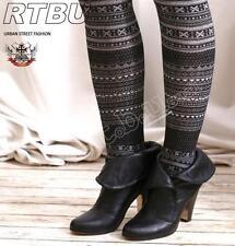 Nordic Snow Flake Knitted Winter Warm Thermal Pantyhose Mono Tone Black & White