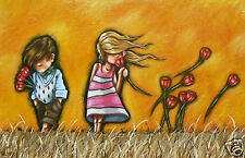 A3 SIZE CANVAS PRINT QUALITY street ART PAINTING ANDY BAKER love kids