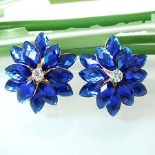 Navachi Blue Flower 18K GP Crystal Ear Stud Clip-Stand Buckle Earrings BH2654
