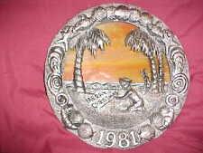 "Decorative Collectors Plate ""Coastal Christmas"" M A Ricker, Pewter & Slag Glass"
