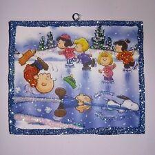 Vtg Image~Peanuts Gang Ice Skating ~ Christmas Glitter Wood Ornament