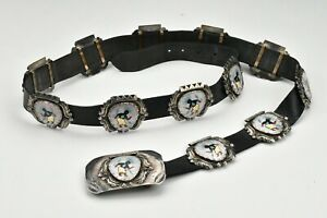 Zuni Indian Pawn Silver Concho Belt with Mother of Pearl and Kachina Dancers