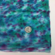 1/2 Yd Teal Purple Green Tie Dyed Looking Batik Jewel Tone Quilting Fabric