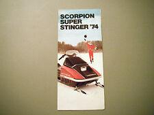 1974 Vintage Scorpion Super Stinger Snowmobiles Foldout Pocket Brochure