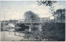 Postcard CT Fairfield Mill River Bridge UDB A6