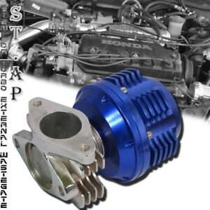 38Mm Turbo Stainless Steel Turbo External Wastegate Adjustable 8 To 12 Psi Blue