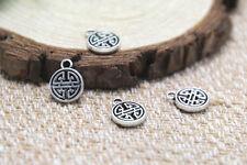 40pcs-Tiny Knot Charms, Antique Tibetan silver Tiny Knot pendants 9mm