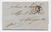 """1850 Hamburg to NY transatlantic mail """"5"""" in circle [H.427]"""