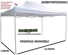 Gazebo pieghevole richiudibile telescopico 3x4,5 m. telo bianco per mercato fier